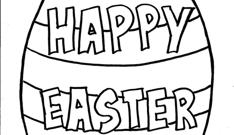"""Happy Easter"" Egg Coloring Page for Kids – Free Printable"