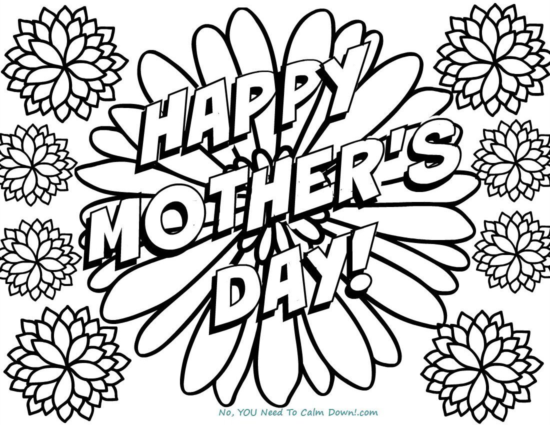Happy Mother S Day Flowers Coloring Page