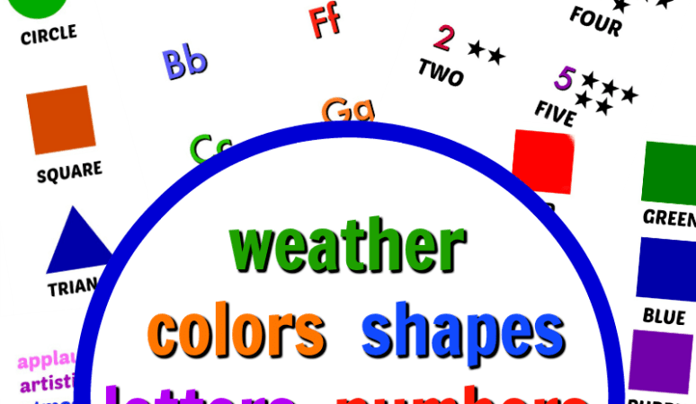 Learning board free printables - shapes,colors,letters,numbers,weather,tier 2 words