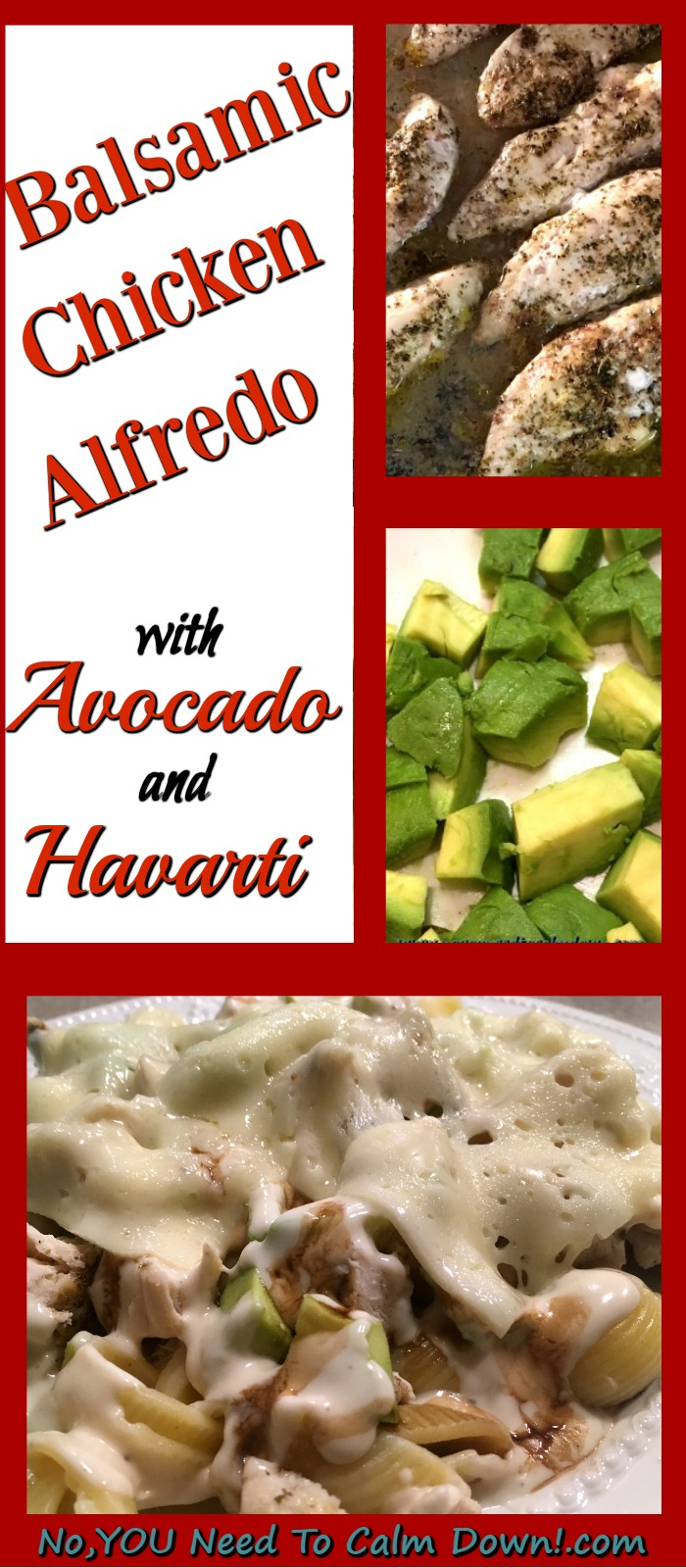 This balsamic chicken alfredo with avocado and havarti is delicious served with pasta or rice. It's easy to make and kid approved! #chickendinner #chickenalfredo #chickenpasta