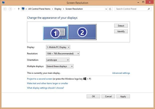 Windows Screen Resolution settings