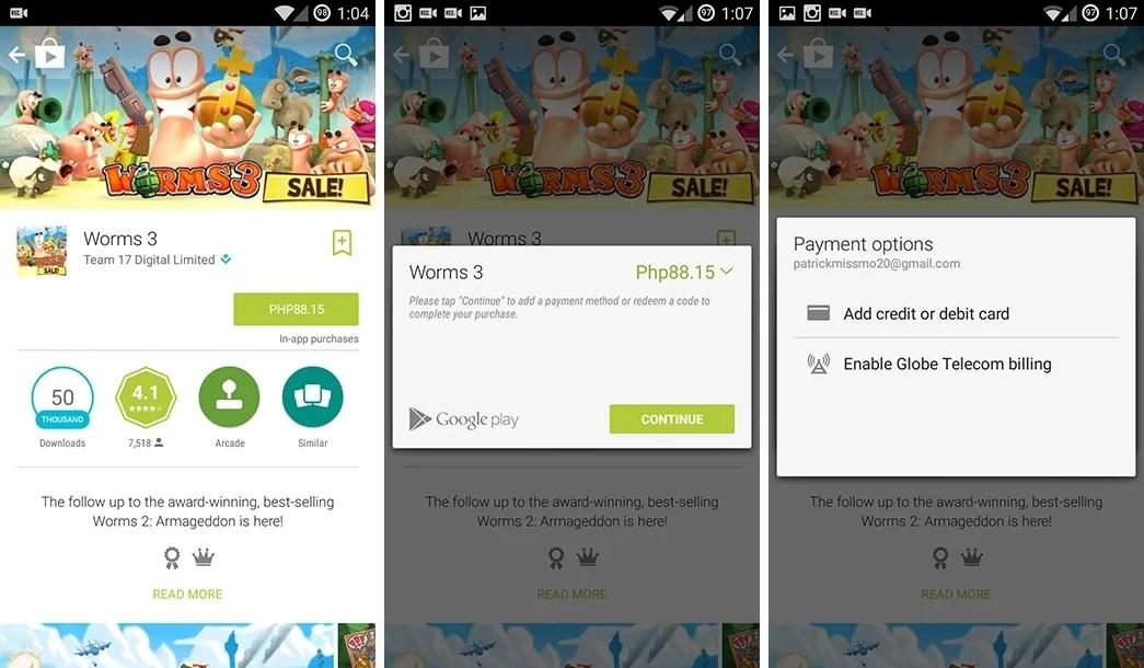 Google Play using Globe Prepaid Load 23