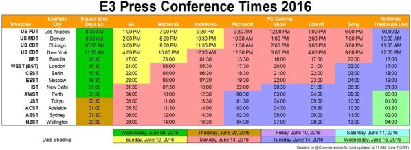 E3 Press Events Schedule