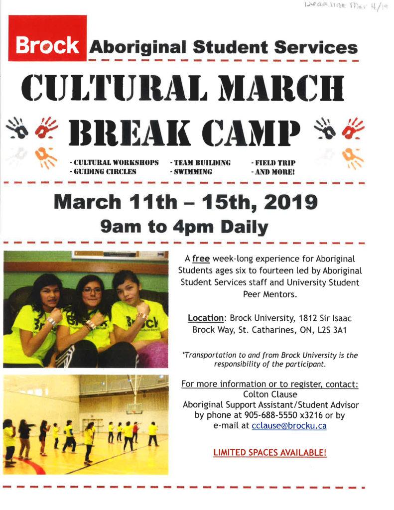 Brock Aboriginal Student Services Cultural March Break Camp Flyer