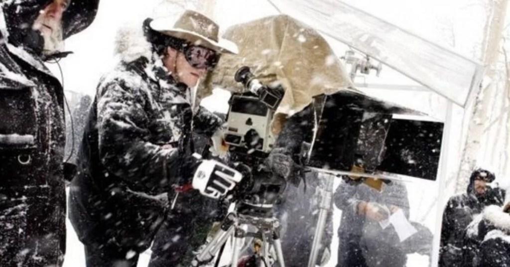 Quentin Tarantino sul set di The Hateful Eight