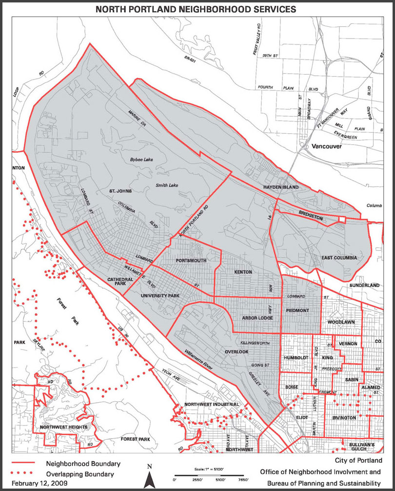 North Portland Neighborhoods Map