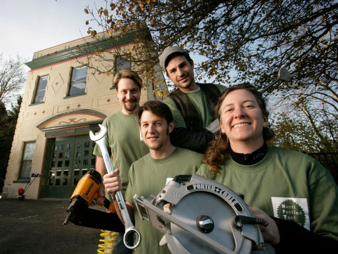 North Portland Tool Library volunteers with tools