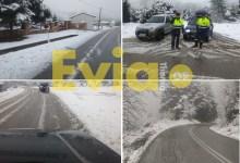 Photo of Σφοδρή χιονόπτωση σε πολλά σημεία της Εύβοιας