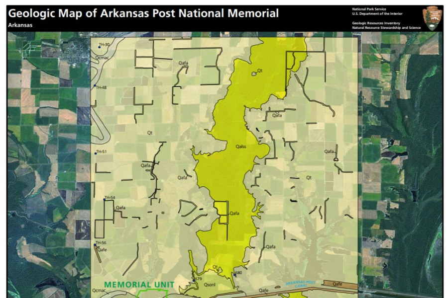 NPS Geodiversity Atlas   Arkansas Post National Memorial  Arkansas     link to geologic map