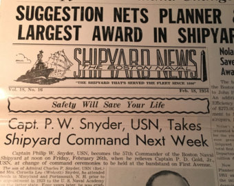 "Photograph of a newspaper entitled ""The Boston Naval Shipyard News"""