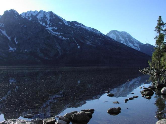 Reflection of mountains on Jenny Lake.