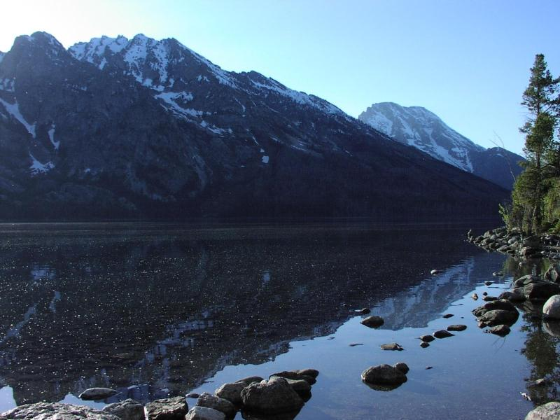 Reflection of mountains on Jenny Lake.