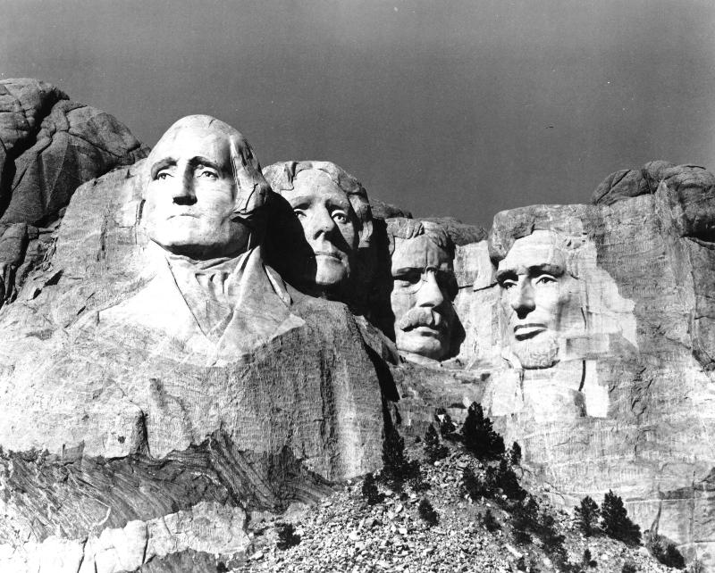 Black and white photo of Mount Rushmore after completion.