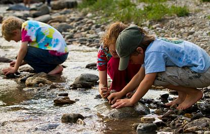 Three kids kids exploring stream