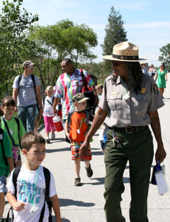 A ranger leads a hike at Indiana Dunes National Lakeshore