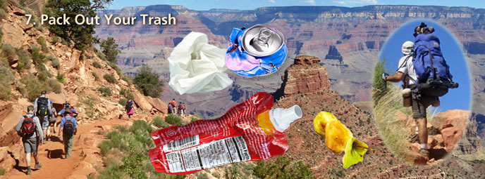 pack out your trash banner shows hikers going down trail on left, superimposed, toilet paper can, gel tube, apple core. On the right is a backpacker with a large pack.