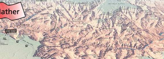 HD Decor Images » Campgrounds   South Rim   Grand Canyon National Park  U S  National     Shaded relief map with red flags that show the location of Mather and  Desert View Campgrounds