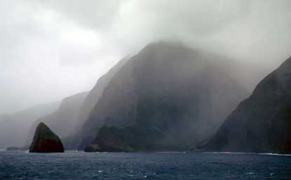 Early morning fog enshrouds the North Shore Cliffs.