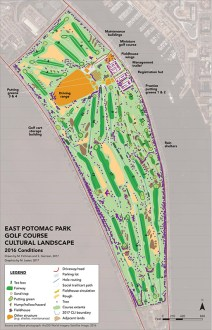Golf Course as Classroom  University of Pennsylvania at East Potomac     Map of existing conditions of East Potomac Golf Course cultural landscape  in 2016