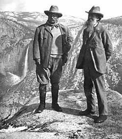 President Teddy Roosevelt and conservationist John Muir at Overhanging Rock, Glacier Point, Yosemite