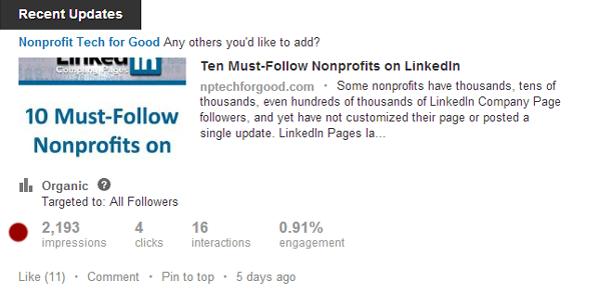 LinkedIn Updates Insights