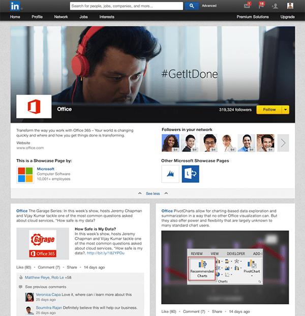 Microsoft Showcase page