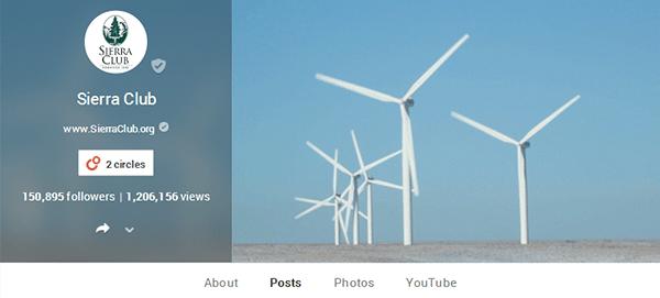 Sierra Club an Google+