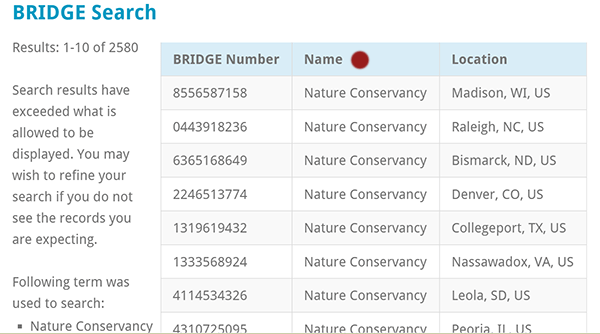 BRIDGE NATURE CONSRVANCY