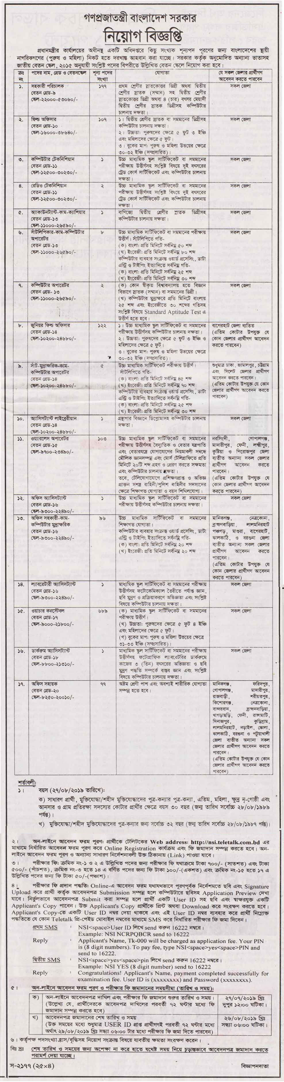 National Security Intelligence NSI Job Circular 2019