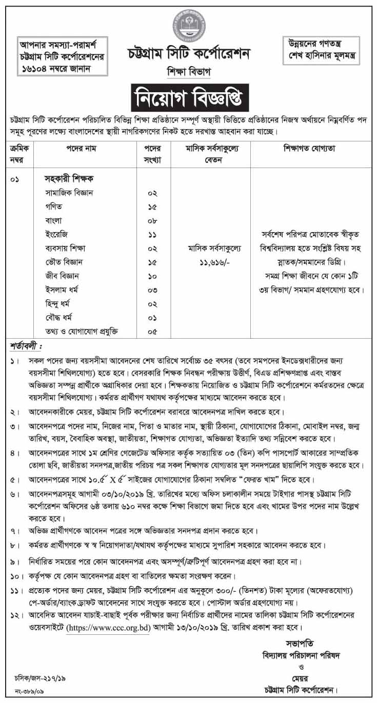 Assistant Teacher Job Circular 2019