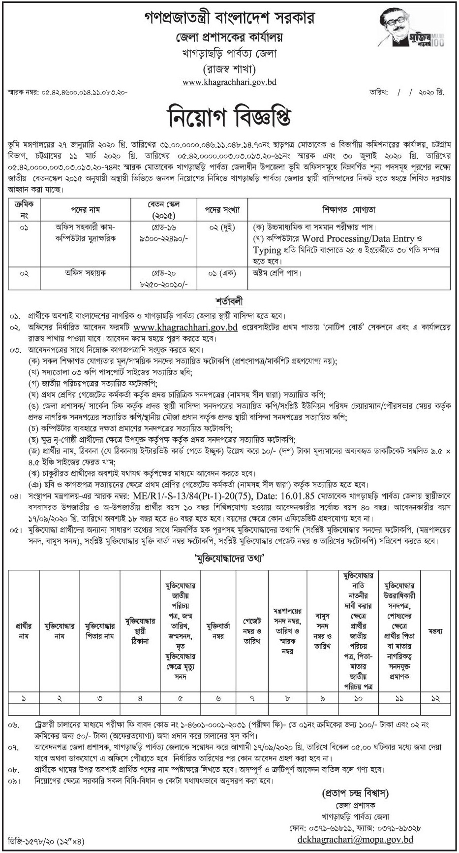 District Commissioner's Office Job Circular 2020