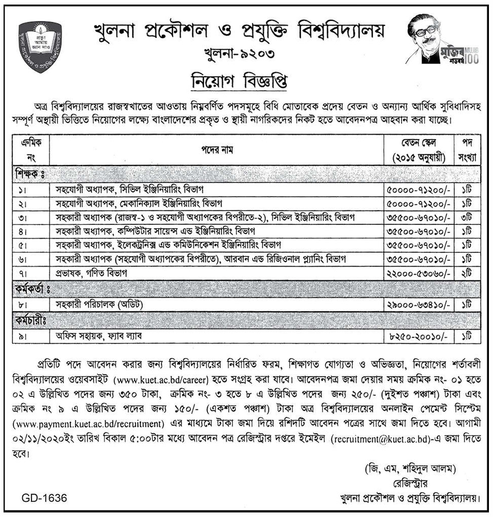 Khulna University of Engineering & Technology KUET Job Circular 2020