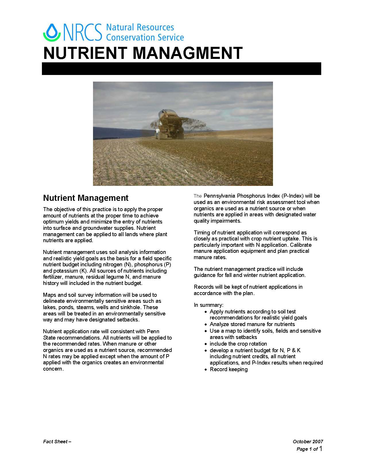 Manure And Nutrient Management