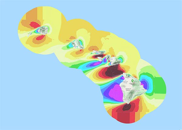 A map of Hawaii with a spectrum of bright colors along the shore to indicate wind resource potential.