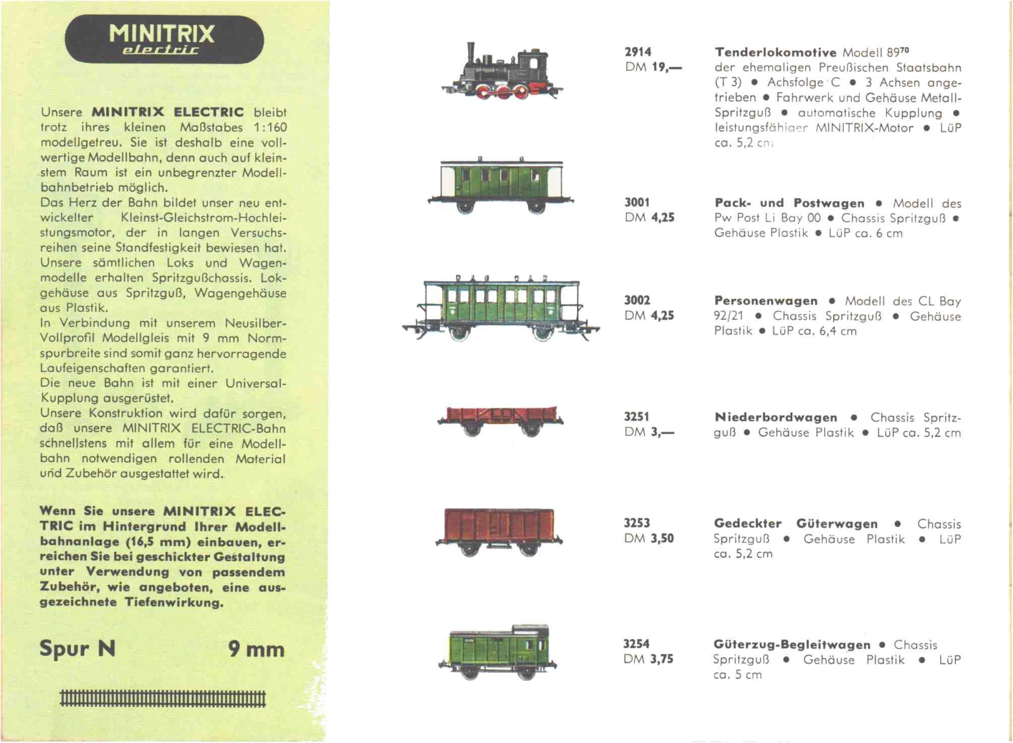 Estratto dal catalogo Trix Express 1964