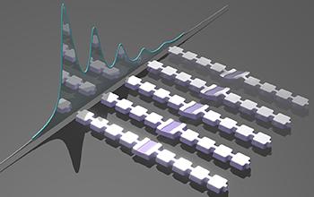 artist's impression of an array of nanomechanical resonators