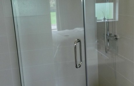 Glass Shower door and andled glass return panel