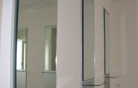 Mirrors Paired with Glass Shelves