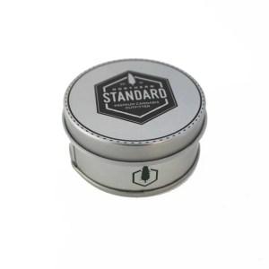 Round Northern Standard aluminum storage tin