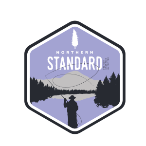 Illustrated Northern Standard fly fisherman sticker