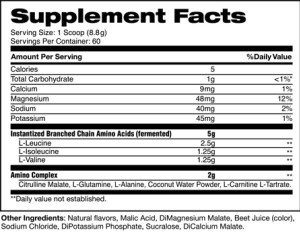 bcaa by stance supplement facts