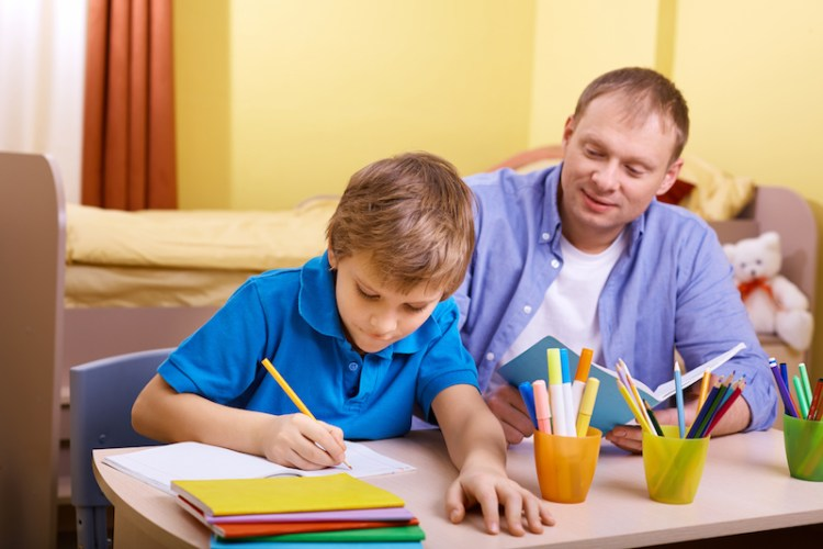 Home educated son with dad