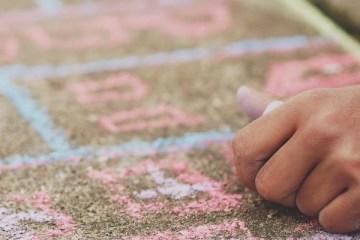 Child chalkling on pavement