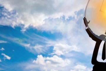 Sky, man holding bulb