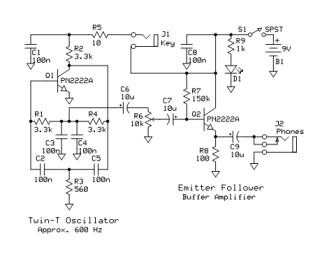 Code Practice Oscillator Schematic