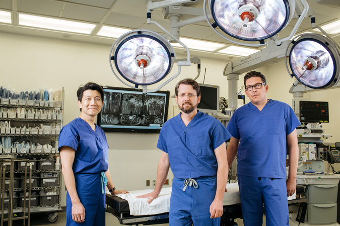 From left, Dr. W.P. Andrew Lee, Dr. Richard J. Redett and Dr. Gerald Brandacher at Johns Hopkins Hospital in Baltimore this month