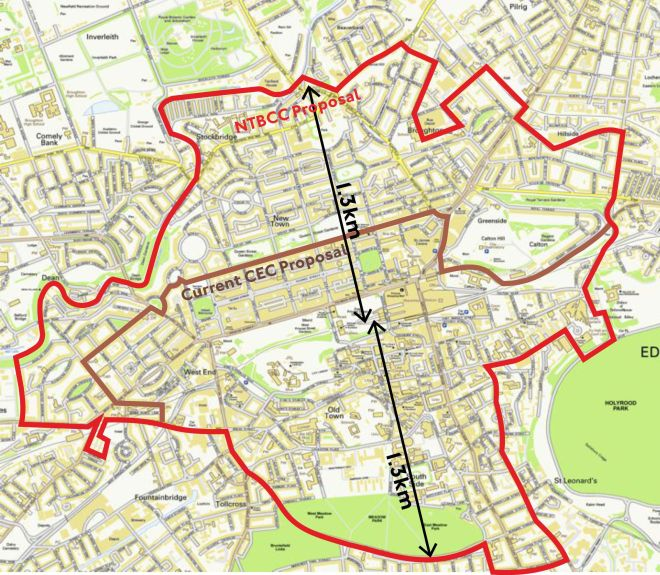 map showing NTBCC's proposals for city-centre low-emissions zone