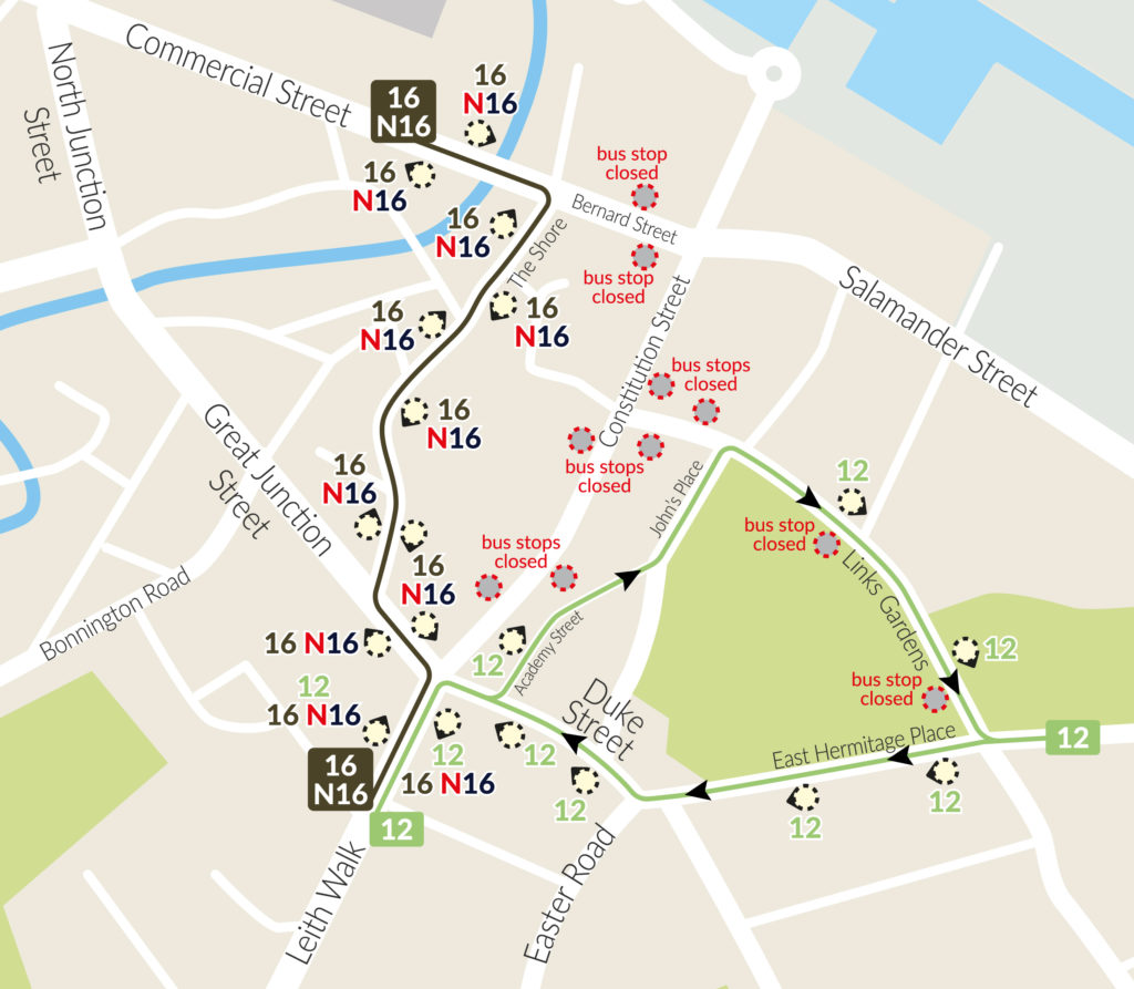 map of forthcoming bus-stop and bus-route changes around Constitution St