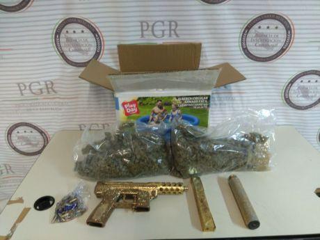 Aseguran arma y marihuana en empresa de paquetería en Tepic