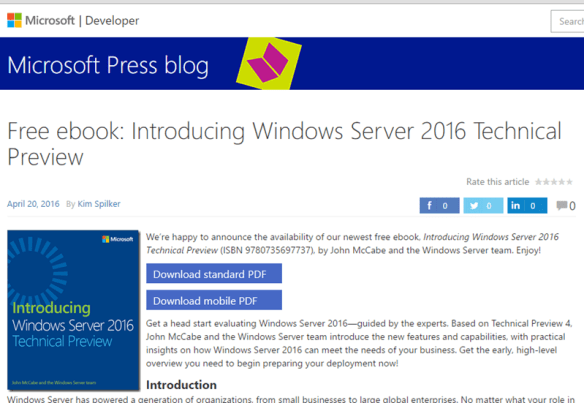Free ebook From MS, Introducing Windows Server 2016